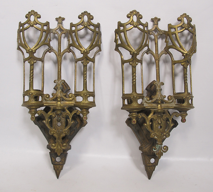 Antique Pair Eastlake Victorian Gothic Brass Candle Wall Sconce s Ornate yqz eBay